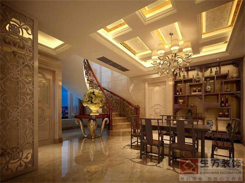 主人房装修,实木地板,欧式天花造型吊顶